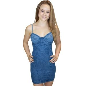 Denim Bustier Mini Dress Jean Bodycon